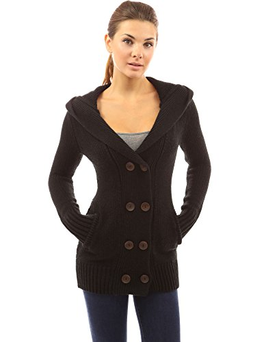 PattyBoutik Women's Hoodie Double Breasted Knit Sweater Coat (Black M)
