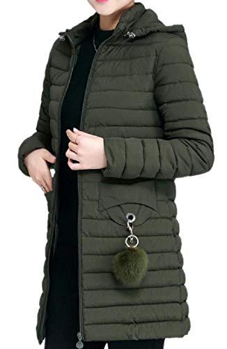 Sottile Casual Verde Donne Giacca Delle Nerastro Comprimibile Trapuntato Tasche Mogogo Con waPEn