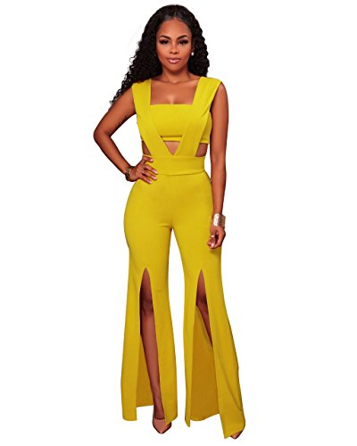 Womens Elegant V Neck Sleeveless Bandeau Patchwork High Waist Split Wide Leg Long Pants One Piece Jumpsuits Rompers Yellow  X Large