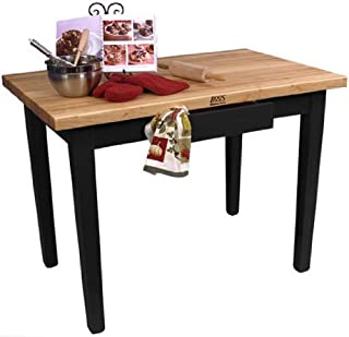 product image for John Boos Cream Finish Black Base Maple Classic Country Work Table with Casters, 36 x 24 x 1.75 inch - 1 each.