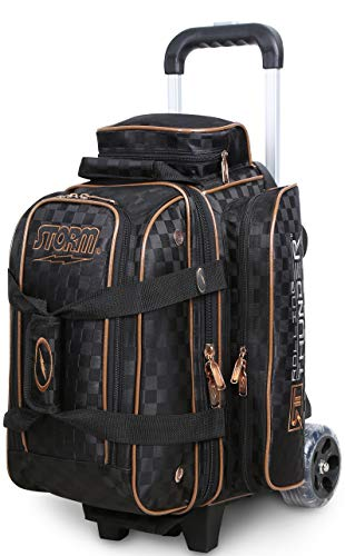 Storm 2 Ball Rolling Thunder Checkered Bowling Bag- Black/Gold (Storm Bowling 2 Ball Bag)