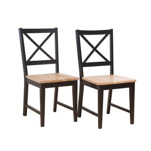 tems Set of 2 20-Inch Virginia Cross Back Chairs, Set of 2, Black/Natural ()