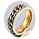Bishilin Stainless Steel Rings Jewelry Biker Chain Band Ring Band Gold Cool Ring