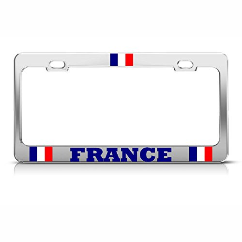 French Flag Chrome Metal License Plate Frame France Country Pride Tag Border for Home/Man Cave Decor by PrMch -