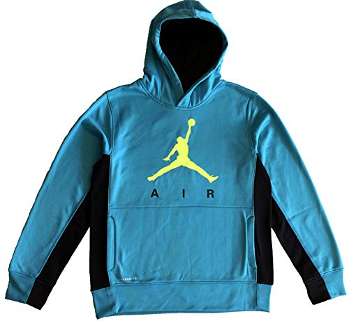 Jordan Boy's Youth Air Therma-fit Jumpman Elephant Print Hoodie Size M, L, XL (Blue Lagoon/Black, X-Large (13-15yrs)) ()