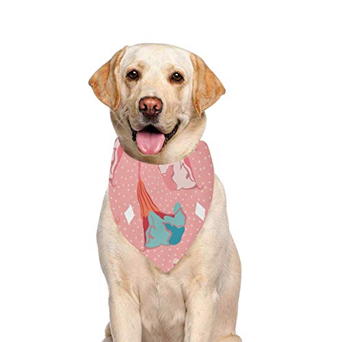 JTMOVING Dog Scarf Stylized Datura Angels Trumpet Flower White Printing Dog Bandana Triangle Kerchief Bibs Accessories for Large Boy Girl Dogs Cats Pets Birthday Party Gift