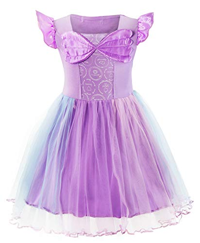 Padete Baby Girl Princess Anna Alice Elsa Little Mermaid Snow White Dress Costume (18-24 Months, Mermaid Purple) -