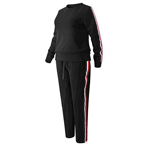 Amo&Co Womens Long Sleeve Two Pieces Stripe-Side Sweatshirt Long Pants Tracksuit Casual Pullover Hoodie Suit Set (Black, s)