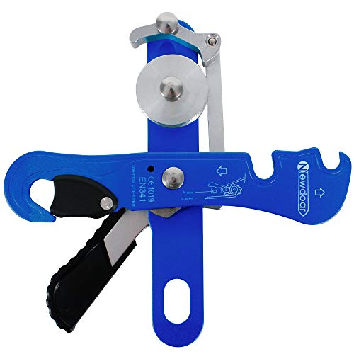 NewDoar Climbing Stop Descender Rappelling Belay for Ropes 9-12mm Rope Rescue Equipment Hand Controls Designed for The Novices Blue