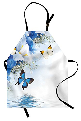 Ambesonne Floral Apron, Blue and White Wild Flowers with Monarch Butterflies Lily Therapy Zen Spa Art Prints, Unisex Kitchen Bib Apron with Adjustable Neck for Cooking Baking Gardening, Purple Blue ()