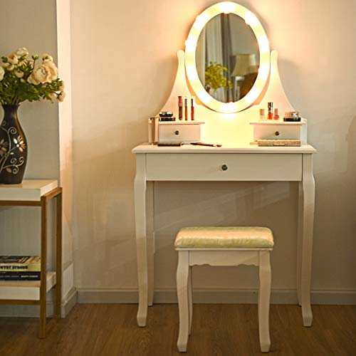Giantex Vanity Set with 10 LED Lights Mirror and Cushioned Stool, Makeup -