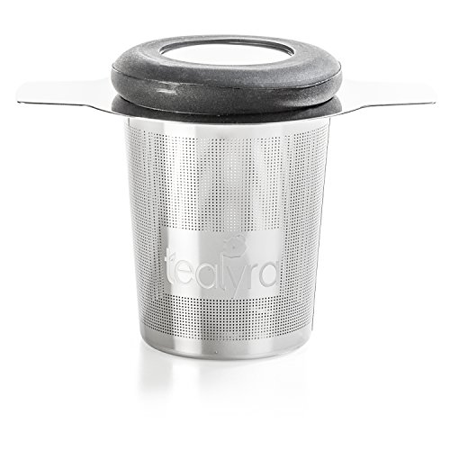Tealyra - brewiTEA - Brew-In-Mug Tea Infuser Mesh Strainer with Metal Dish - Large Capacity and Perfect Size for Hanging on Teapots - Mugs - Cups - To Steep Loose Leaf Tea and Coffee (Teapot Strainer Basket)