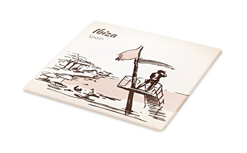 Lunarable Ibiza Cutting Board, Sketch Lifeguard Watching over the Beach Exotic Holiday South Spain Islands, Decorative Tempered Glass Cutting and Serving Board, Small Size, Brown and Warm Taupe by Lunarable