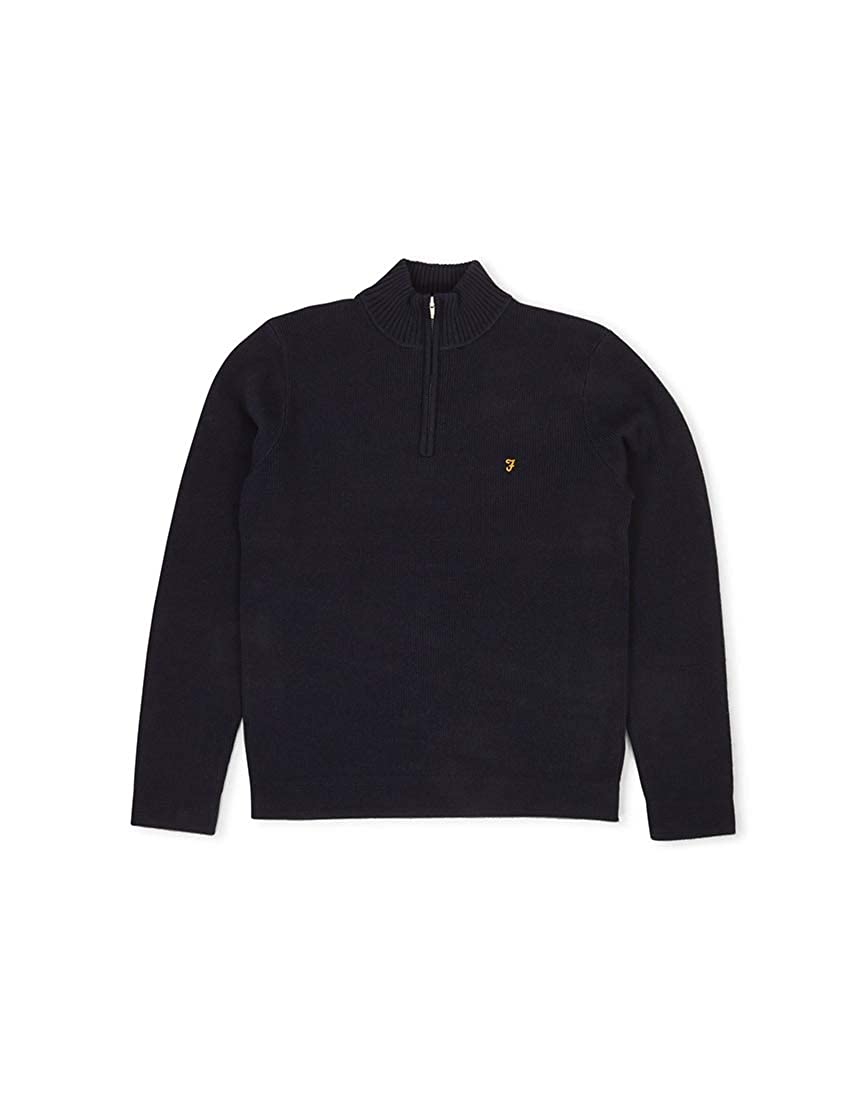 FARAH Zipped Collar Jumper Navy