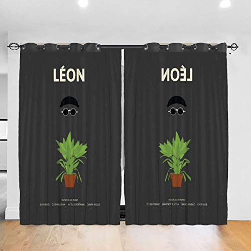 FDASLJ Customized Blackout Window Curtains Leon Movie Silhouette Grommet Thermal Insulated Room Darkening Drape for Bedroom Living Room 52 X 72 Inch, 2 Panels