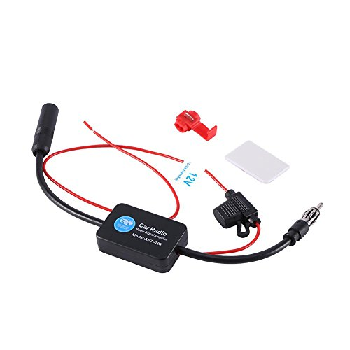 Antenna Amplifier Signal Booster, Keenso Universal 12V Car FM AM Radio Aerial Antenna Signal Reception Amplifier Booster High Gain Low Noise HD 25dB
