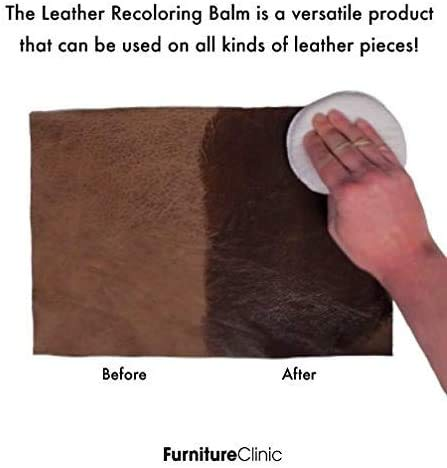 Furniture Clinic Leather Recoloring Balm (8.5 fl oz) - Leather Color Restorer for Furniture, Repair Leather Color on Faded & Scratched Leather Couches - 16 Colors of Leather Repair Cream (Camel)