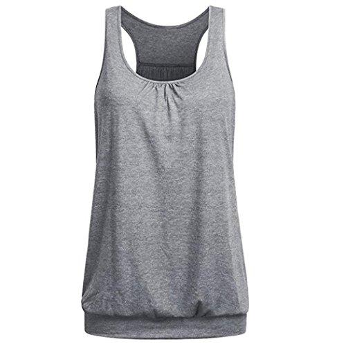 Perman Cheap Womens Summer Sleeveless Round Neck Elasticity Waist Workout Tank Tops Vest (XL, Gray)