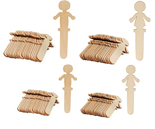 (People Craft Sticks - 100-Pack Wooden People Shaped Craft Sticks, Family Set Wood Craft Sticks People for DIY Arts and Crafts Projects, Crafting Supplies)