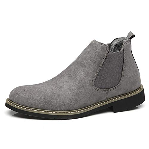 Hombres Felpa Grises Masculinos Zapatos Fhcgmx Adulto Moda Invierno Botas Popular Caminar Calidad Para Diseño Corta Calzado Sólido TqwqBAz