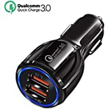TJC Car Charger Quick Charge 3.0, 2 Ports USB Qualcomm QC 3.0 Fast Charging Adapter Multi Protection Technology fit Android Smartphones Samsung S9/S8 Plus,Sony,iPhone X/8, iPad (Black)