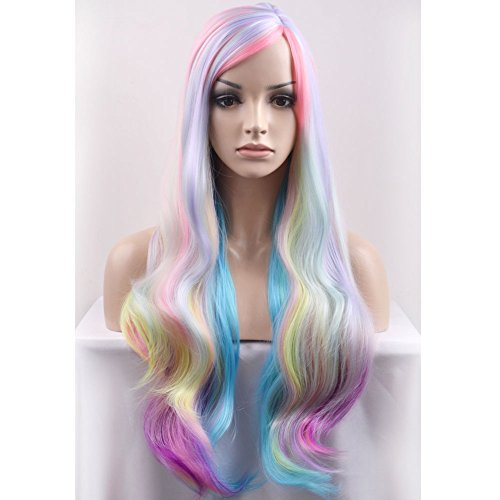 (BERON 29.5'' Long Curly Mixed Color Charming Soft Full Wig with Bangs Wig Cap Included (Multi)