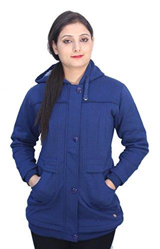 Romano - Sweat-shirt - Veste - Uni - Col Chemise Classique - Manches Longues - Femme Bleu Bleu