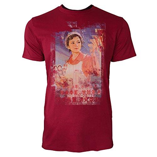 SINUS ART® Chinesische Arbeiterin Herren T-Shirts stilvolles dunkelrotes Cooles Fun Shirt mit tollen Aufdruck