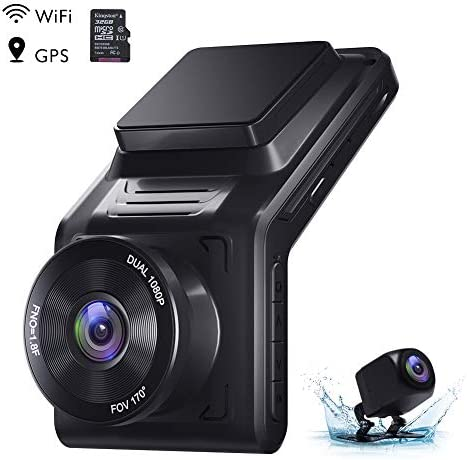 AKASO 2K Dash Cam Front and Rear 1080P Dual Dash Cam with 32 GB TF Card, 2 IPS Screen, External GPS, 170 Wide Angle, Wi-Fi, Loop Recording, Night Vision, Parking Mode, G-Sensor