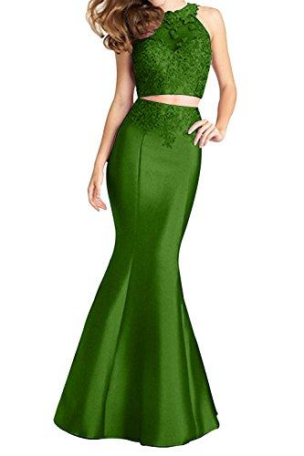 Charmant Promkleider Abendkleider Lang teilig Sexy Meerjungfrau Damen Ballkleider Grün Zwei Durchsichtig Neu Sar86xSHq