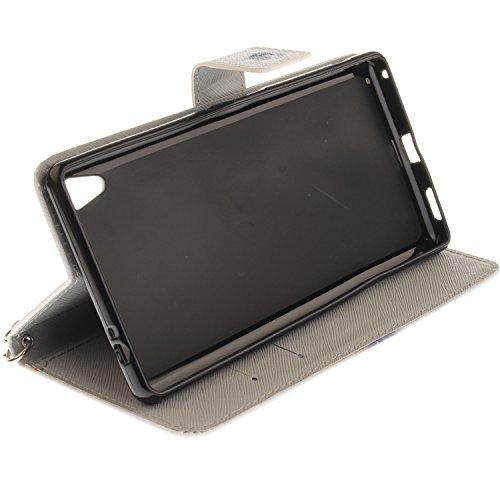Para Sony Xperia C6 funda, (tigre siberiano) caja del teléfono de la PU patrón en pintado ,Función de Soporte Billetera con Tapa para Tarjetas correa de mano soporte para teléfono lobo