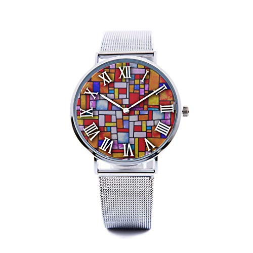 Unisex Fashion Watch Antique Ornate Symmetrical Stained Glass Mosaic Window Tile Vintage Print Dial Quartz Stainless Steel Wrist Watch with Steel Strap Watchband for Women/Men 36mm&40mm Casual Watch