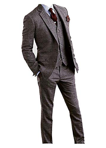 Men's Houndstooth Tweed Wool Blend Grey Grid Plaid Check Tuxedos Groom Slim Fit Formal Vintage 3 Pieces Suit