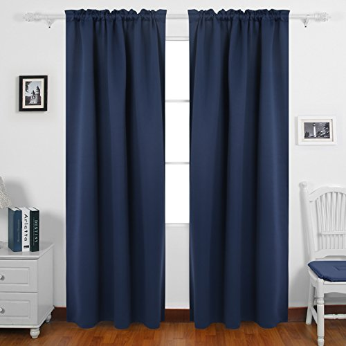 Deconovo Home Decorations Rod Pocket Blackout Curtains Room Darkening Panels Thermal Insulated Curtains for Bedroom 52W x 84L Inch Navy Blue 1 Pair