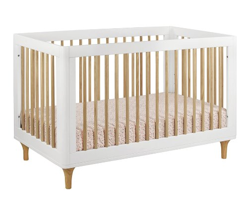 Babyletto Lolly 3-in-1 Convertible Crib with Toddler Bed Conversion Kit, White / Natural by babyletto