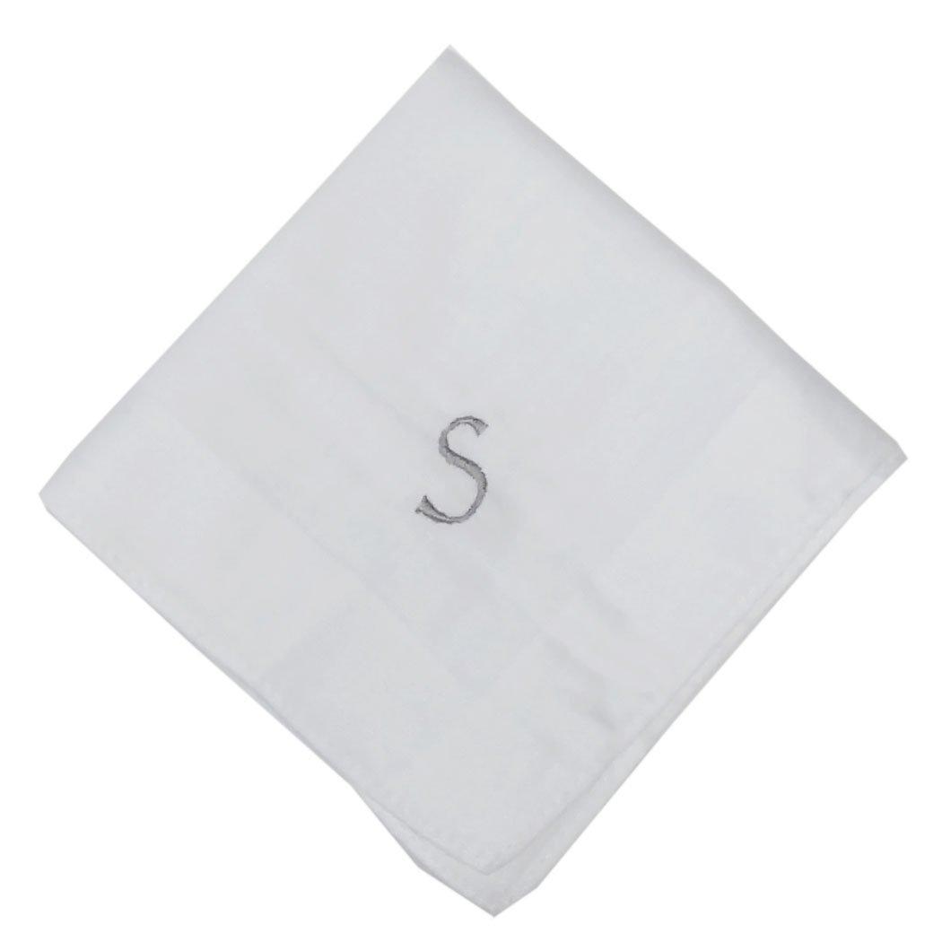 OWM Handkerchief Cotton Embroidered Custom Initial Monogram Handkerchief Men (S, White)