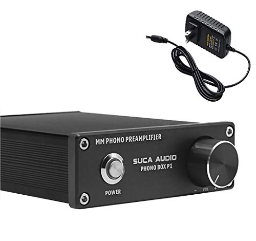 Phono Turntable Preamp, SUCA-AUDIO Mini Phonograph Stage Preamplifier RIAA MM Turntable Pre Amp - Compatible with LP Vinyl Recorder Players, Turntables with RCA Input & Output (Best Integrated Amp With Phono Stage)