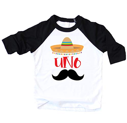Mustache Themed Birthday (1st Birthday Uno Shirt Fiesta Themed First Birthday Sombrero Birthday Shirt Mustache Birthday Outfit for Baby Boy Black 3/4 Sleeve)