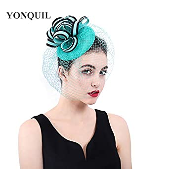 YONQUIL Ladies Fancy Races Wedding Hats Fascinators Bridal Headwear with  veilling SYF185 (Emerald Green) cb0fe3e70aa