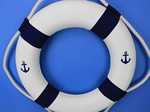 Classic White Decorative Anchor Lifering with Blue Bands 20'' - Life Saving Ring