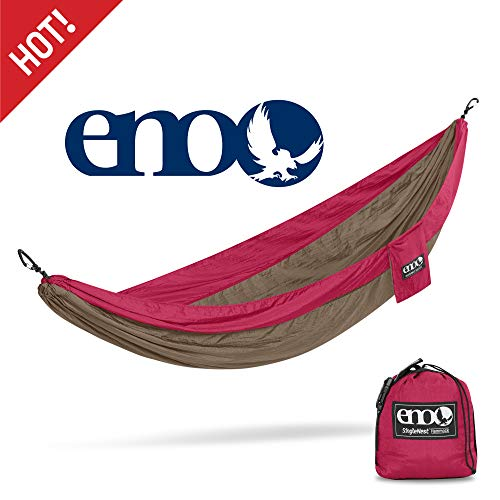 ENO – Eagles Nest Outfitters SingleNest Hammock, Portable Hammock for One, Khaki Maroon