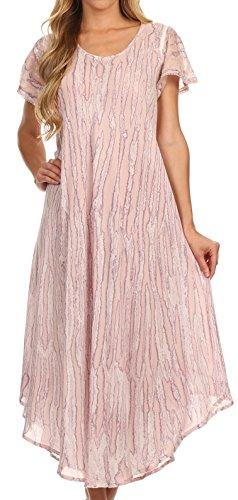 Sakkas 14802 - Faye Cap Sleeved Cotton Caftan Cover Up Dress - Violet - OS by Sakkas