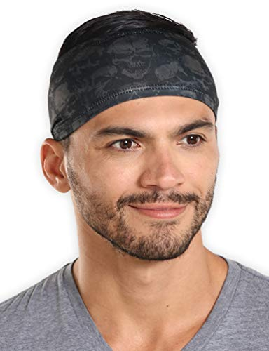 Mens Headband - Running Sweat Head Bands for Sports - Athletic Sweatbands for Workout/Exercise, Tennis & Football - Ultimate Performance Stretch & Moisture Wicking (Headband Skull)