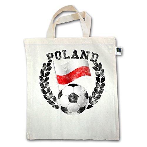 Fußball-Weltmeisterschaft 2018 - Poland Flagge & Fußball Vintage - Unisize - Natural - XT500 - Jutebeutel kurzer Henkel