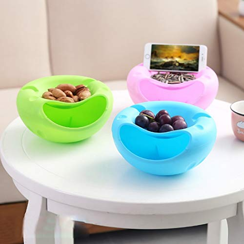 Joylive 1Pcs Bowl Double Layer Dry Fruit Contaners Snacks Seeds Storage Box Garbage Holder Plate Dish Organizer with Phone Holder by Joylive (Image #5)