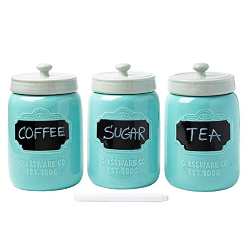Mason Jar Ceramic Canister Set for Kitchen - Set of 3 Decorative Storage Containers with Air-Tight Lids for Coffee, Sugar & More - Country Style Storage w/Reusable Writable Surface - 12.85oz/Canister