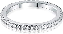 White Gold Plated Cubic Zirconia Band Rings