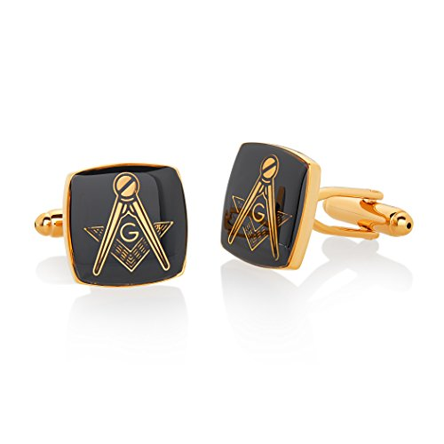 (Crucible Jewelry Mens Gold Tone High Polished Masonic Cuff Links, Black/Gold, One Size)