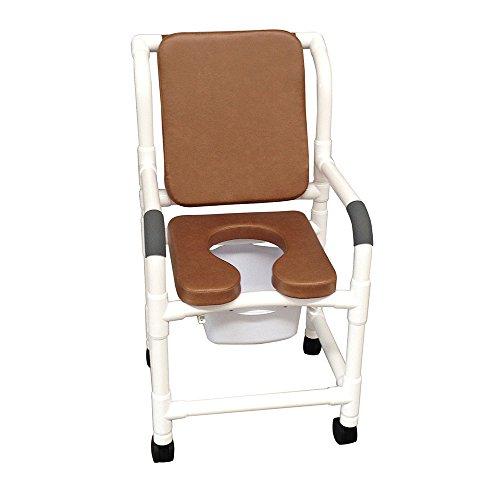 MJM 118-3TW-SSDE-CBP-SQ-PAIL-BRN Standard Shower Chair wi...