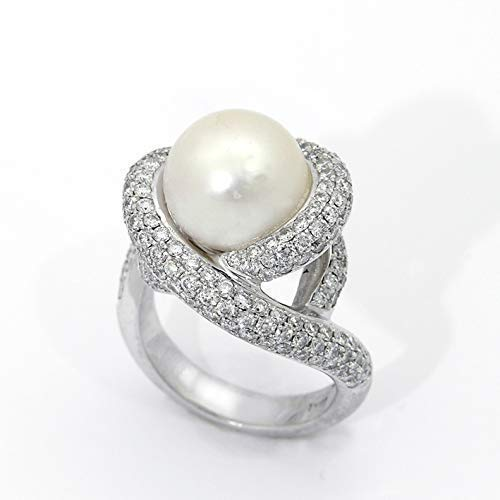 18k solid White gold Pearl Diamond Ring